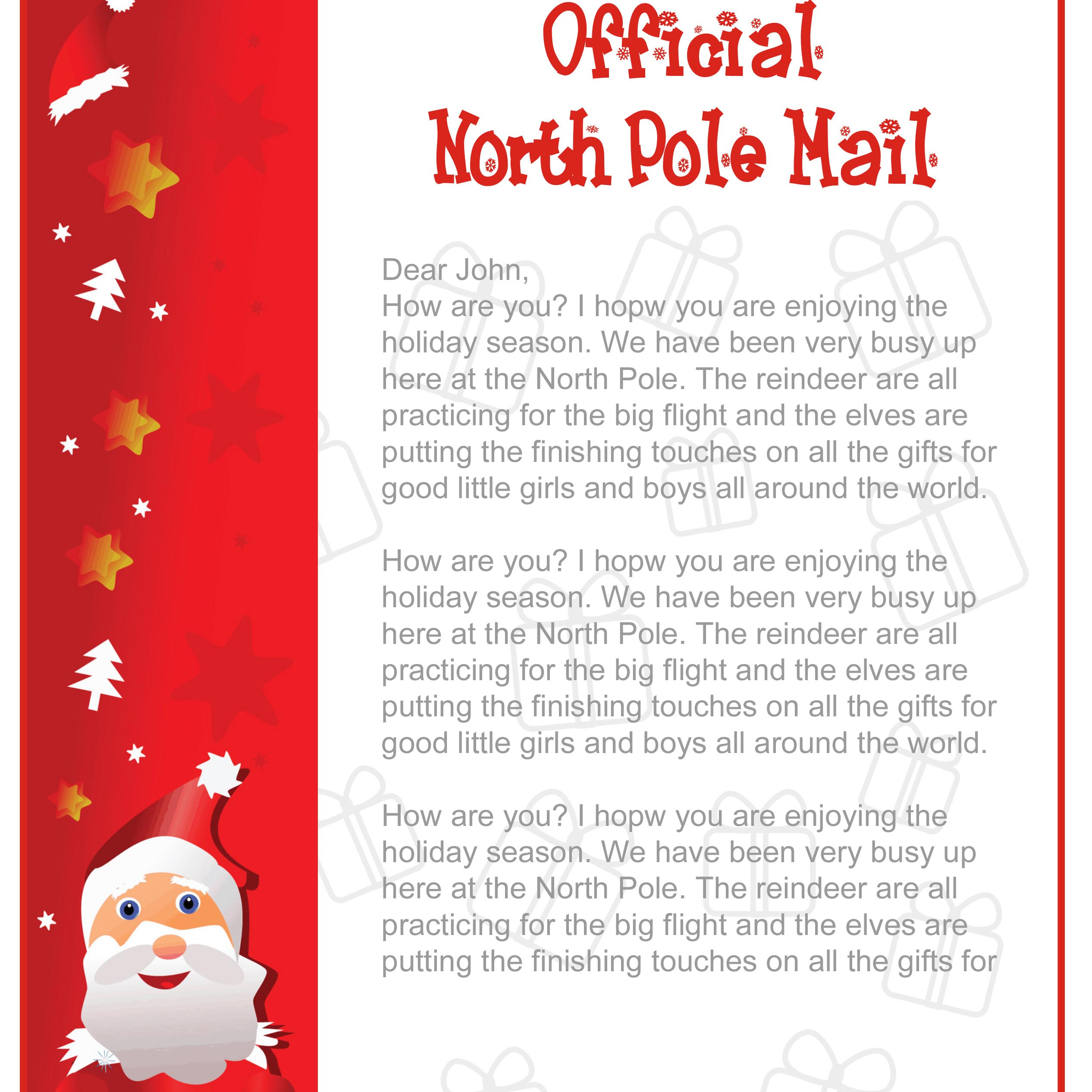 Effortless image within free printable letters from santa