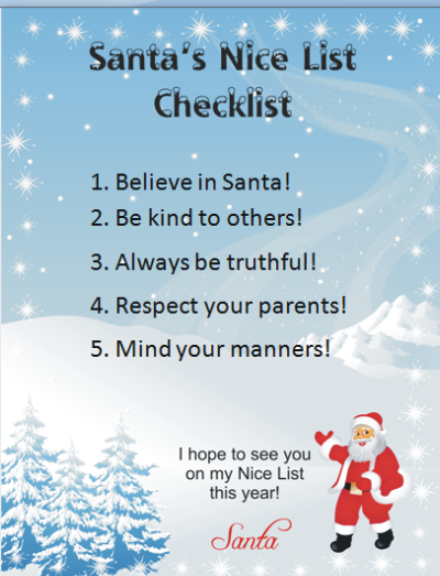 Customize Your Free Santa's Nice List Checklist