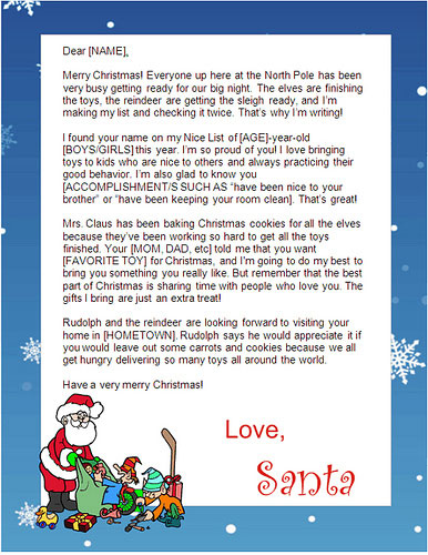 FreeSantaLetters.net - create printable letters from Santa at home in minutes!