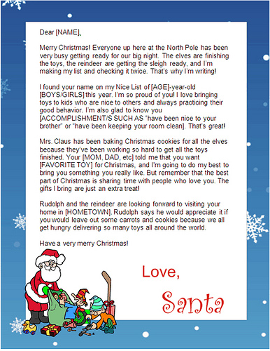 free santa letters to print at home