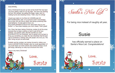 freesantaletters.net upgrade - Santa with toys Nice List certificate