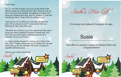 freesantaletters.net upgrade - Printable North Pole Nice List certificate