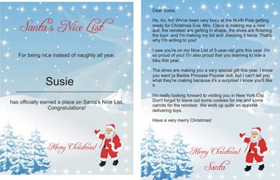 freesantaletters.net upgrade - printable snowy Santa Nice List certificate