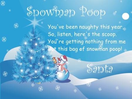 printable snowman poop poem